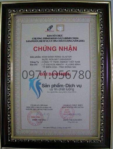 kem-danh-rang-glister-amway-duoc-chung-nhan-dat-danh-hieu-san-pham-uy-tin-chat-luong